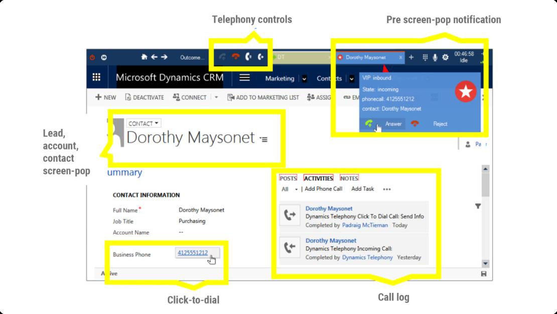 Dynamics Telephony for Dynamics 365 screen