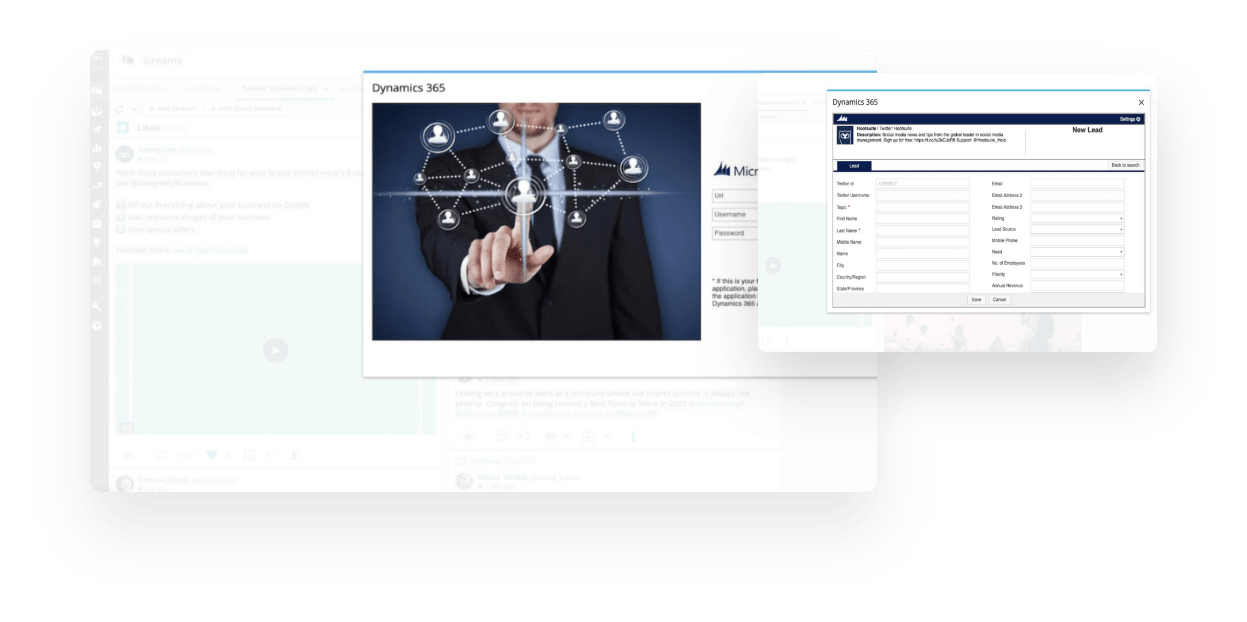 Hootsuite for Dynamics 365 screen
