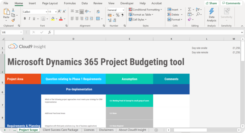 Cloud9 Insight Smart Budgeting Tool - Excel